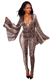 Serpentine digital printing horn sleeve deep V jumpsuit
