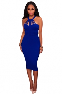 Blue round collar sleeveless bodycon knee length dress