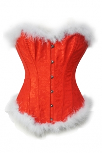 Front Busk Red Brocade Overbust Christmas Corset With White Fur Trim
