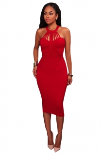 Red sheath round collar sleeveless knee length dress