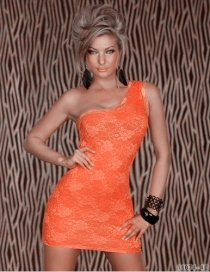 Bewitching Left Sided Shoulder Strap Lace Overlayer Skimpy Tight Fitted Orange Party Dress