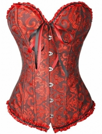 Dark Red Victorian Floral Brocade Corset With Ruffle Ribbon Trim, Sweetheart Neckline, Front Busk, Lace Up Back