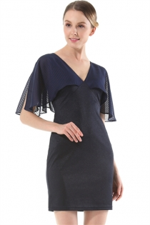 Dark Blue Ladies Dress Cape Shoulder Slim Thin Package Hip Short Dress
