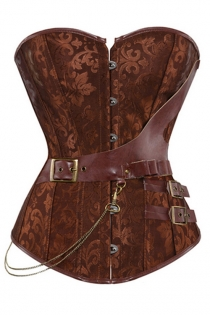 Brown Jacquard Gothic Corset Steampunk Faux Leather Chains Bustier Waist Sliming Plus Size S-6XL