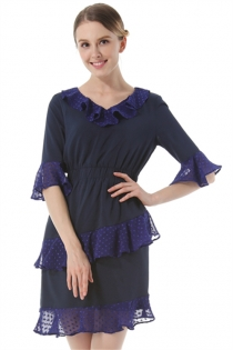 Dark Blue Chiffon Ruffled Dress Fashion V-Neck Flare Sleeve Dress