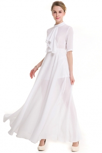 Solid White Collar Half Sleeve Temperamental Lady Slim Maxi Dress