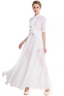 Solid White Collar Half Sleeve Temperamental Lady Slim Maxi Dress