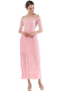 Pink Lace Off Shoulder Sheath Fairy Maxi Dress