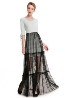 Green Sweet T-shirt Stitching Black Sheer Long Maxi Dress