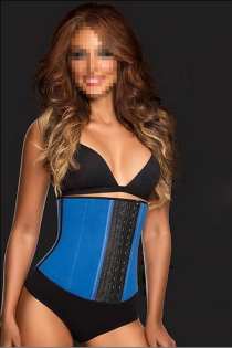 Blue Sport Latex Rubber Steel Boned Waist Trainer Cincher Underbust Corset