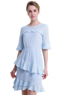 Sky Blue Sweet Lotus Leaf Ruffled Round Collar Fashion Solid Party Mini Dress