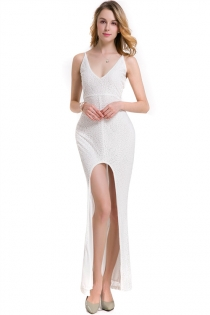 Sexy White Spaghetti V-neck Backless Lace Cocktail Party High Split Maxi Dress