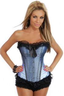 Blue Corset With Black Polka Dot Lace Overlay in Front Panels, Ruffle and Bow, Front Busk