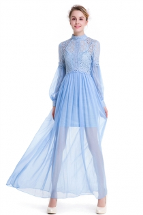 Sky Blue Collar Long Sleeve Lace Stitching Simulation Silk Elegant Dress