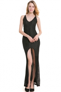 Sexy Black Spaghetti V-neck Backless Lace Cocktail Party High Split Maxi Dress