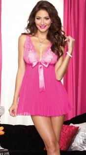 Hot Pink Spicy Deep V Neck Babydoll With Ribbon Bows & Matching G-string