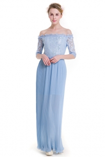 Sky Blue Lace Off Shoulder Sheath Fairy Maxi Dress