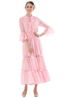 Solid Pink Round Neck 3/4 Sleeves Chiffon Maxi Sheath Dress