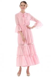Solid Pink Round Neck 3/4 Sleeves Chiffon Maxi Sheath Dress