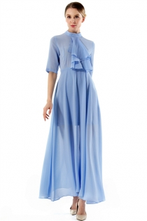 Solid Blue Collar Half Sleeve Temperamental Lady Slim Maxi Dress