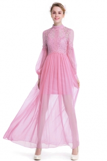 Pink Collar Long Sleeve Lace Stitching Simulation Silk Elegant Dress