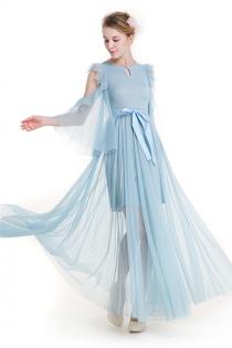 Sky Blue Lace Empire A-line Sweet Polka Dot Bare Shoulder Fairy Maxi Dress
