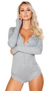 Grey Deep V Neck Long Sleeve Teddy Lingerie