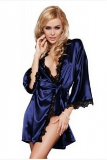 Sexy Women Summer Bathrobe Lace-edge Perspective Blue Pajamas Honeymoon Lingerie Set