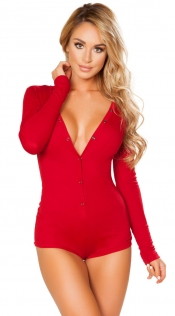 Red Deep V Neck Long Sleeve Teddy Lingerie
