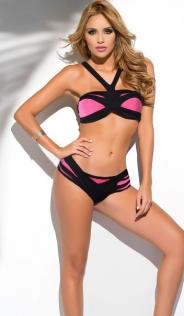 Pink & Black Bikini Set