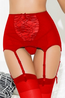Playful Red Sheer Floral Lace Waist Line Tempting Hook Strap Stocking Intimate Accessory With G-string