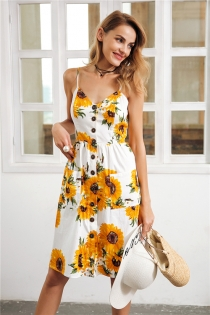 Strap v neck summer dress women Sunflower print backless casual dress vestidos Smocking high waist midi dress female