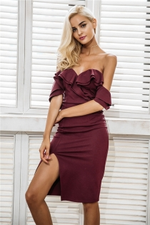 Off shoulder ruffle sexy bodycon dress women Split high waist elegant wine red christmas party dresses Autumn dress robe