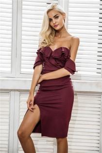 Off shoulder ruffle sexy bodycon dress women Split high waist elegant wine red christmas party dresses Autumn dress robe
