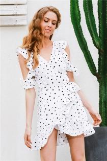 Ruffle cold shoulder polkadot print summer dress Vintage irregular bow wrap short dress Women chic chiffon white dress