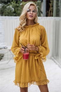 Lace up backless mesh dress women Elegant stringy selvedge sash mini dress Fashion long flare sleeve dresses vestidos