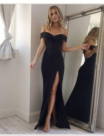 2018 party maxi black dress plus size strapless empire sheath bodycon high split summer dress women sexy club dress