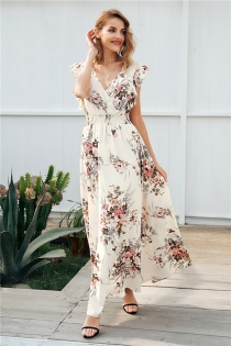 Ruffle backless bow print long dress Women v neck tie up summer dress female Casual beach chic boho maxi dress vestidos