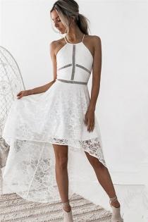 ladies white lace dress 2018 women elegant sleeveless bohemian summer dress