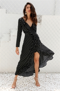 Autumn long sleeve polka dot ruffle wrap dress Women sexy v neck split maxi dress vestidos Summer beach black long dress