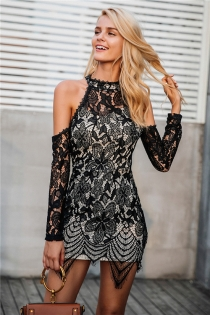 Halter cold shoulder black lace dress Women sexy slim bodycon dress vestidos Elegant fringed christmas party mini dress