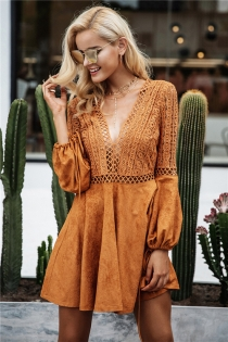 Sexy lace up v neck suede lace dress women Hollow out flare sleeve winter dress party christmas Autumn backless femme