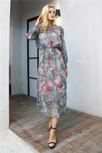 Elegant floral print long dress women two piece maxi chiffon dress autumn Casual high waist elastic o neck dress female