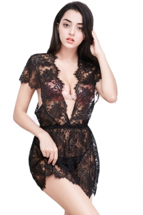 Sexy Black Eyelash Lace Cutout Perspective Sling Short Plus Size Babydoll