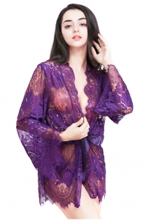 Sexy Purple Eyelash Lace Long Sleeve Cardigan Slip Plus Size Pajamas Robe