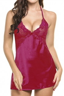 Plus Size Fuchsia Silk Babydoll With Lace Bust & Matching G Strings