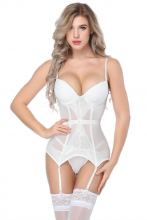 Sexy White Bridal Mesh Tight Teddy Lingerie With Garters