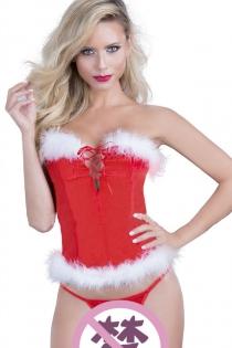 Sexy Christmas Girl Corset + G-string Temptation Lingerie Set