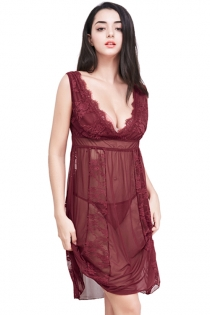 2018 New Women Plus Size Mesh Babydoll Burgundy Lace Sleep Dress