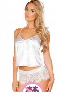 Plus Size Bridal White Silk Top Underwear With Lace Matching Panties